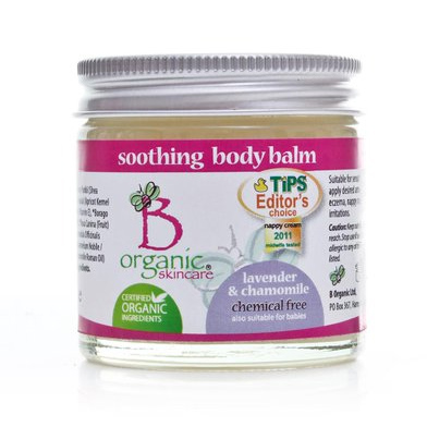 b-organic soothing body balm packaging design