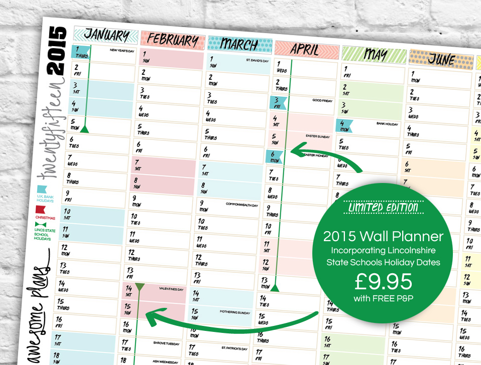 Lincolnshire School Holiday and Term Dates 2015 Wall Planner